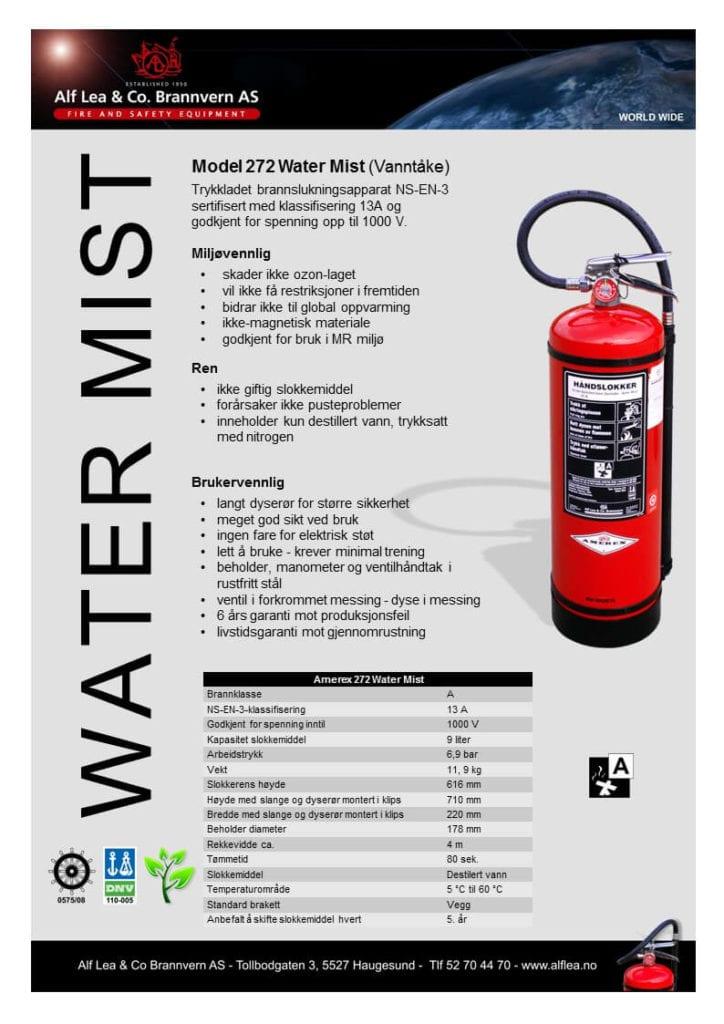 Amerex mod. 272, 9 liter vanntåke apparat